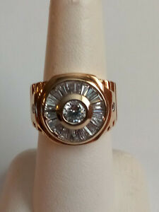 Men's 10K Yellow Gold CZ Ring Size 7 10.48 grams
