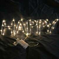 "21""x6"" Happy Glow LED Sign Light Bar Decor Wall Hanging Gift Neon Alternative"
