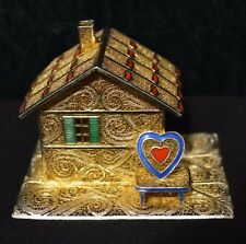 Miniature Sterling Silver Filigree Enamel House w/ Gold Layer Wash?