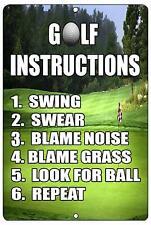 Funny Golf Instructions Metal Sign Golf Wall Decor Man Cave Bar Golfer Gift