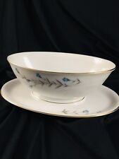 Japan China BLUE BELLE Gravy Boat with attached dish vintage chic