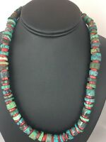 Native American 10 mm Turquoise Heishi,Bamboo Coral  Sterling Silver Necklace
