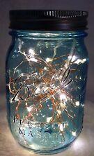 1 Pair Blue Pint Vintage Style Mason Jar w/ 30 Copper-wired Fairy Lights Lantern