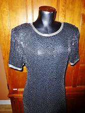 Vtg Night VOGUE Silk Black Sequin Silver Beads Evening Formal Party DRESS sz L