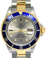 Rolex Submariner 18k Yellow Gold/Steel Gray Serti Diamond Dial 40mm Watch 16613