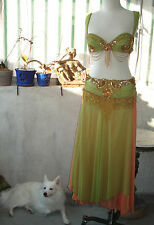 HAND MADE Professional BELLY DANCE Costume ~ Orange & Lime w/GOLD & RED Beading