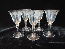 Set of 5 Vintage Cut Etched Crystal? Glass Cordial Shot Glasses- Dots and Leaves