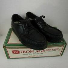 Black Leather Iron Age Steel Toe Shoes Mens 9.5 W Made in USA