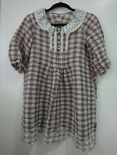 Petite Ladies Dress Laced Collar Chequered Small 6-8