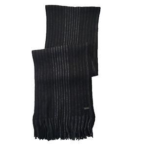 Michael Kors Unisex Two Tone Marled Stripe Raschel Muffler Scarf, Black/Grey OS