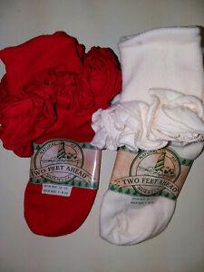 Girls T-SHIRT RUFFLE SOCK- 2 PAIR /$4.00  IRREG FITS sock size 7-8