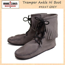 MINNETONKA Tramper Boots Gray GREY Suede Lace Up Fringe Ankle 421T WOMENS SIZE 9