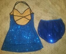 Dance Recital Ice Skating dress Strappy back Sequins Size As