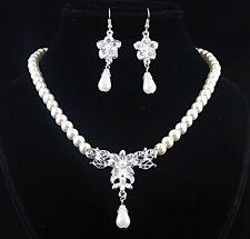 Bridal Wedding Jewelry Set White Pearl Rhinestone Diamante Necklace Earrings UK
