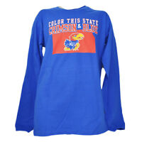 NCAA Kansas Jayhawks Color This State Crimson Blue Long Sleeve Mens Tshirt