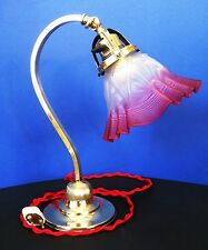 Original Antique Art Deco Table Desk Lamp Brass Original Glass