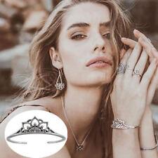 Adjustable Bohemian Jewelry Retro Hollow Petals Silver Charm Flowers Bracelet