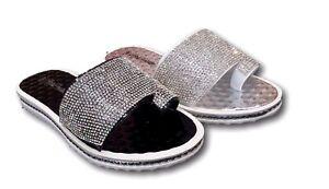 Women Ladies Sandals Summer Beach Diamante Fancy Flat Shoes Home 3 to 8 Sizes