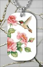 """BIRD HUMMINGBIRD FLY OVER ROSE FLOWER DOG TAG NECKLACE 30"""" FREE CHAIN -tfg6Z"""