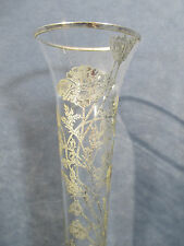 Flower Bud Vase Glass Silver Overlay Floral Design Tall Flute Pedestal Base