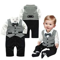 Kids Baby Boys Toddler Gentleman Suit Romper Jumpsuit Bodysuit Clothes Outfit