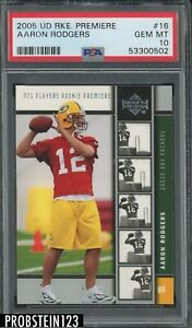 2005 UD Rookie Premiere #16 Aaron Rodgers Green Bay Packers RC PSA 10 GEM MINT