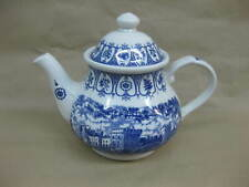 Queen Elizabeth II Silver Jubilee Teapot Blue & White Broadhurst Windsor Castle