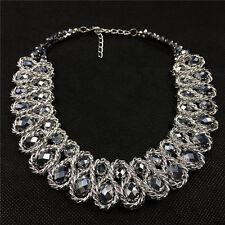 Lady Fashion Charm Pendant Chain Crystal Chunky Choker Bib Statement Necklace
