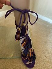 Jimmy Choo London Womens Mindy Fringe Tassle Leather Heels Purple sz 39.5 New
