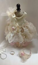 SHABBY IVORY PINK LACE XXXS DOG HARNESS DRESS Chihuahua Teacup PET WEDDING PARTY