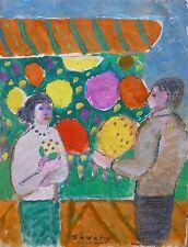 Robert SAVARY (1920-2000) Huile & Gouache / Nle Ecole de Paris Jeune Peinture