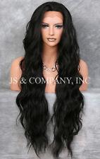 Super Long Soft Off Black HEAT SAFE Lace Front Wig Delicate wavy WEAJ 1B