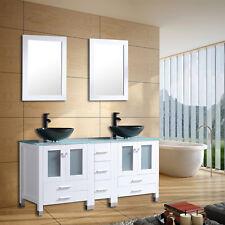 60inch Bathroom Vanity Mdf Cabinet Double Glass Vessel Sink Faucet w/Mirror Sets