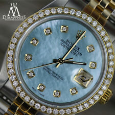 Unisex Rolex 36mm Datejust 2 Tone Baby Blue Mother Of Pearl Dial with Diamond
