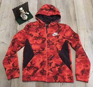 Nike Dri-Fit Full Zip Hoodie Red Orange Camo Youth Large Minimal Wear