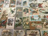 ~Beautiful Estate~Lot of 30~CHRISTMAS~BIRDS~ Vintage BIRD Postcards-s-166