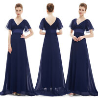 Ever-Pretty Navy Blue Double V-Neck Evening Gowns Long Bridesmaid Dresses 09890