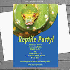 Green Snake Reptile Kids Birthday Party Invitations x 12 + free envelopes H0034