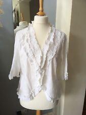 J Taylor Debenhams White Cotton Embroidered Blouse Top UK 20