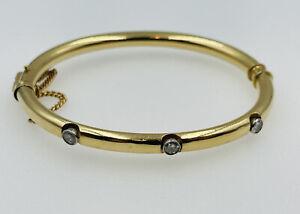 Antique Victorian 14k Yellow Gold 3 Diamond Bangle Bracelet