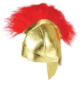 Child Roman Helmet Fabric Hat - Red Fur Warrior Gladiator Spartan Hat Kids Play