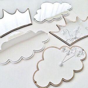 Baby Kids Wooden Mirror Hanging Nursery Room Wall Decorative Children Gift