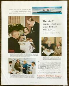 1961 United States Lines PRINT AD Relax Your Way to Europe Prominent Couples