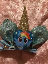 Handmade Boutique Little Pony Hair Clips. (gold & Blue) My Little Pony