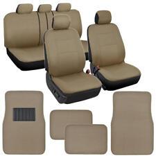 Car Seat Covers Interior Set w/ Front & Rear Carpet Floor Mats Solid Beige Tan