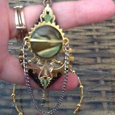 Steampunk Teardrop Pendant Shell Gears Filigree Beaded Green Swarovski Crystals