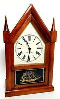 VTG SETH THOMAS Quartz Mantel Clock CATHEDRAL SPIRE A FRAME w SHIP GLASS!
