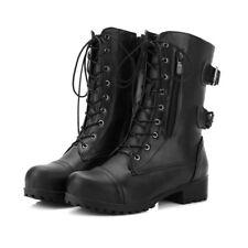 Women Ladies Leather Buckle Strap Zip Low Heel Work Biker Ankle Boots Shoes SZ11