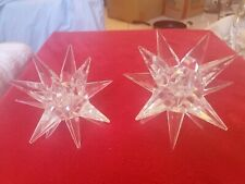 Pre-owned pair 2 large and medium Swarovski Stars Candle holder