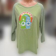 Care Bears Vintage 3/4 Sleeve T Shirt Lucky Bear Grumpy Friends Rainbow Sz 3